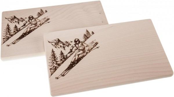 Branddruck - Motiv Skifahrer Ahornholz