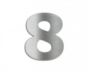 Hausnummer 8, Edelstahl - Lasergravurdienste Wenzel