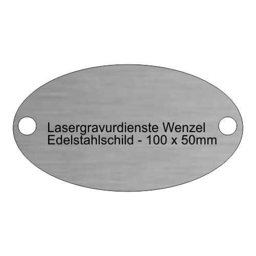 Edelstahlschild oval 100x50mm - Lasergravurdienste Wenzel