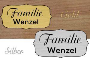 Namensschild, selbstklebend - Lasergravurdienste Wenzel