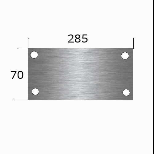 Edelstahlschild 285x70mm mit 4 Bohrungen