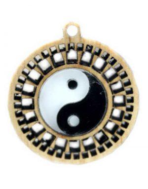 Yin-Yang Anhänger, Vollholz/Acrylglas Lasergeschnitten